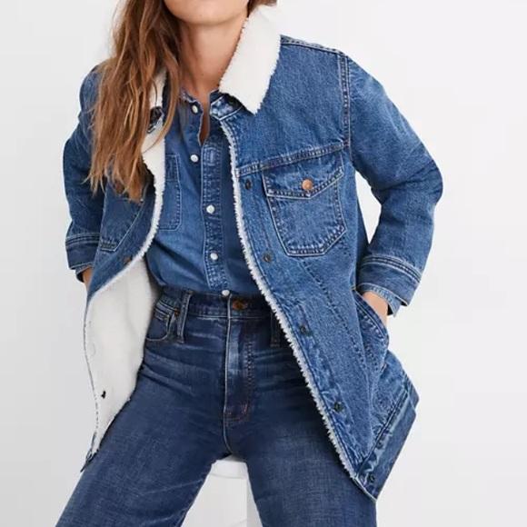 Madewell oversized denim jacket Sherpa-like Small